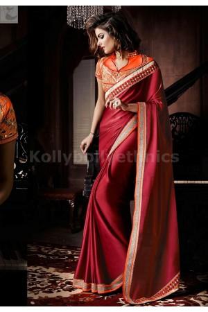 Maroon and orange Party Wear Saree