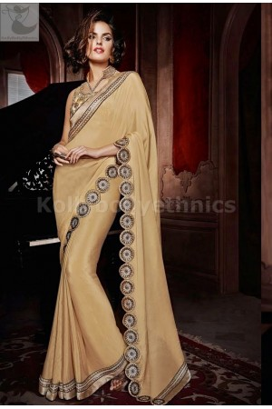 Designer beige colour Party Wear Saree
