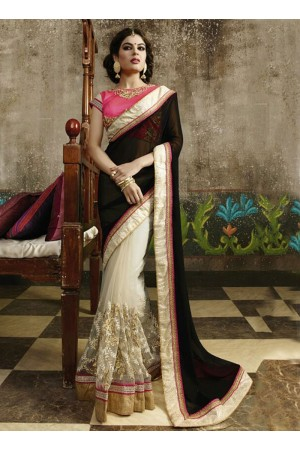 Bedazzling Black Georgettes On Net Saree