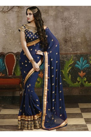 Celestial Navy Blue Georgette Saree