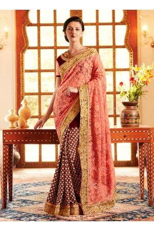 Excellent Peach and Wine Designer Saree