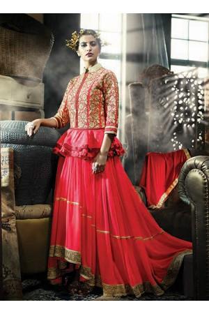Fantastic Net Pink Designer Gown