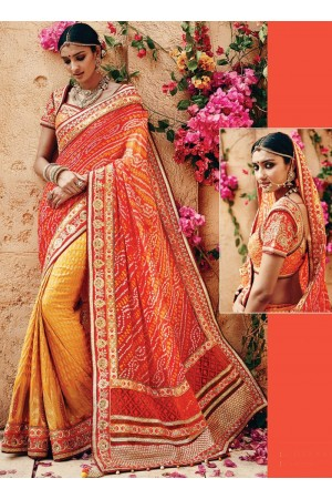 Fascinator Orange Georgette Saree