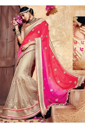 Genuine Multi Colors Georgette On Net Sarees