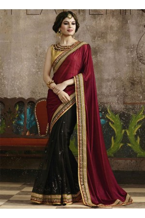 Girlish Maroon Georgette On Net Saree