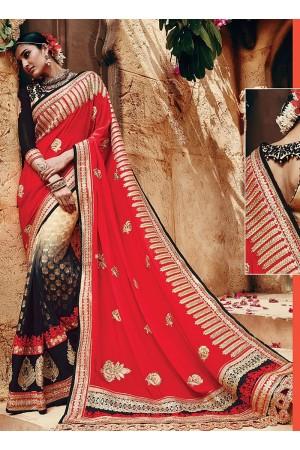 Gleeful Multi Color Georgette On Net Saree