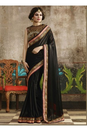 Glorious Black Shimmer Georgette Saree