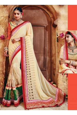 Hegemonic Off White Georgette On Net Saree
