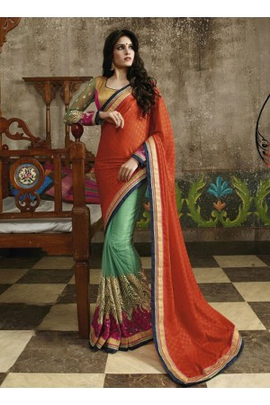Miraculous Orange Georgette On Net Saree