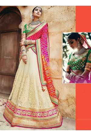 Snug Off White Net Wedding Wear Lehenga Choli