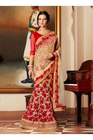 Spectacular Georgette Beige and Red Lehenga Saree