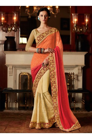 Stunning Cream and Orange Zari Work Georgette Designer Saree