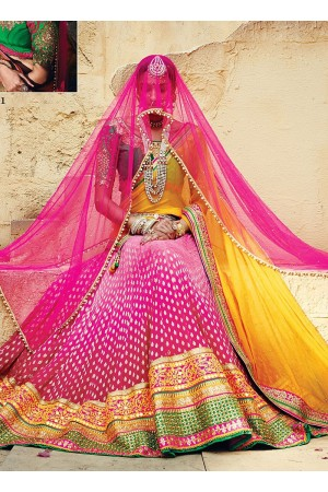Sweet Magenta Georgette Wedding Lehenga Choli
