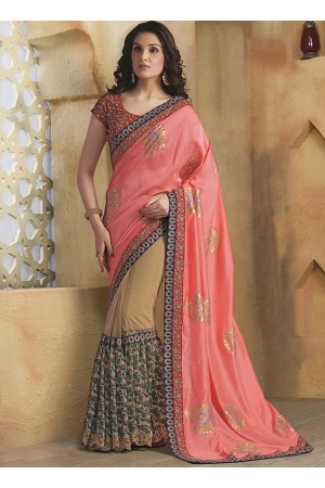 Absolute Baby Pink Bhagalpuri Silk On Net Saree