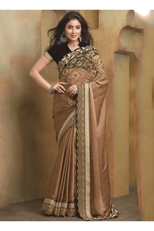 Artful Brown Satin Saree