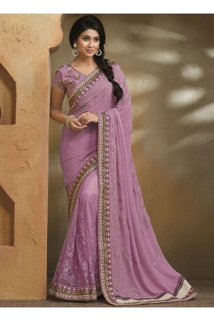 Astute Violet Georgette On Net Saree