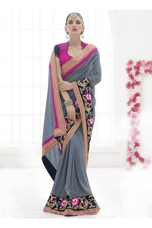 Beckoning Grey Chiffon Georgette Saree
