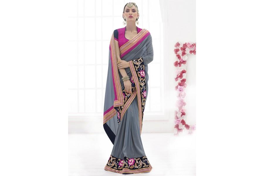 Details about  /Sparkle Sarees Kareena Grey Sequence Saree Indian Lengha Party Wear Sari Blouse
