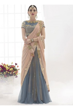 Benevolence Water Peach Power Net Lehenga Saree