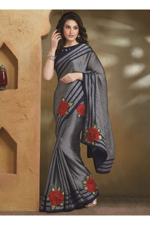 Catchy Grey Satin Chiffon Saree