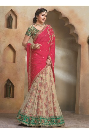 Circean Red Chiffon On Net Lehenga Saree