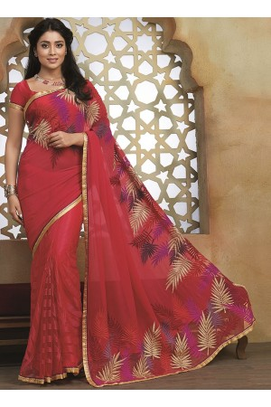 Crafty Red Georgette On Net Saree