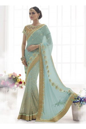 Ecstatic Sky Blue Lycra Net Saree