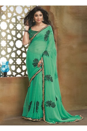 Fascinator Sea Green Pure Chiffon Saree