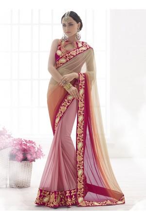 Gorgonize Multi Color Net Lycra On Lila Lycra Designer Saree