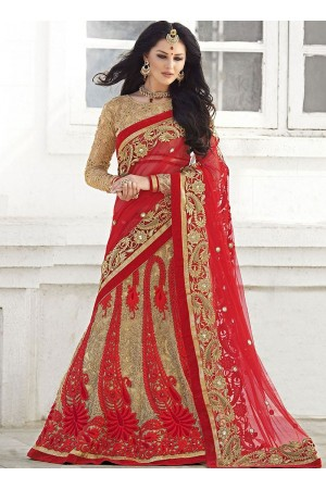Joyous Red Net Lehenga Cholis