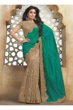 Legendary Sea Green Crushed On Net Saree