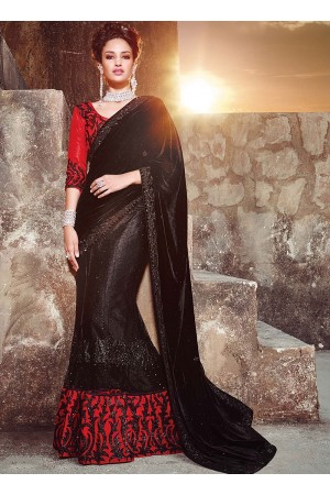 Peppy Black Velvet On Net Lehenga Saree
