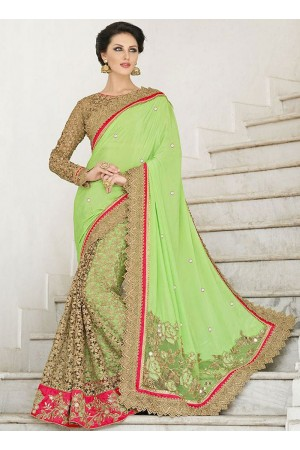 Praiseworthy Liril Green Georgette On Net Saree