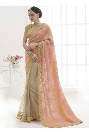 Praiseworthy Peach Crushed Foiled On Lycra Net Designer Saree