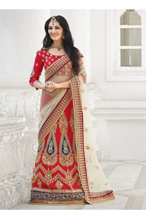 Precipitant Red Raw Silk Lehenga Choli