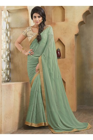 Qualified Sea Green Georgette Saree