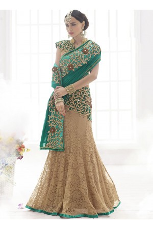 Remarkable Brown Shaded Chiffon On Fancy Net Lehenga Saree