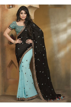Sacred Black Pure Chiffon Saree
