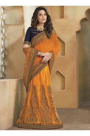 Shrewdly Orange Georgette On Net Lehenga Saree