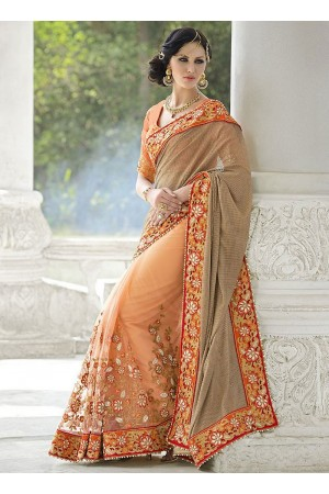 Sprightly Grey Fancy Net Designer Saree