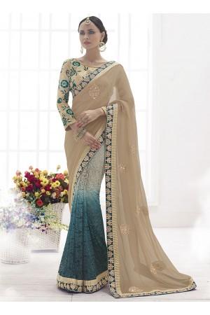 Towering Cream Chiffon On Fancy Net Designer Saree