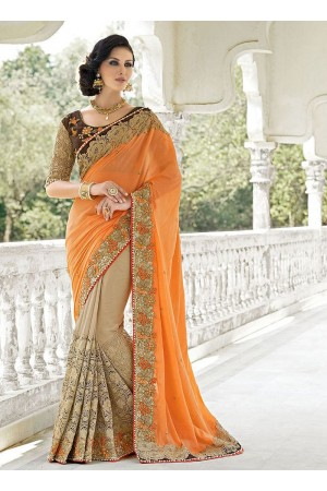 Urbanity Orange Georgette On Net Saree