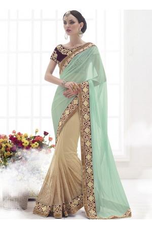Vibrant Sea Green Lycra On Net Designer Saree