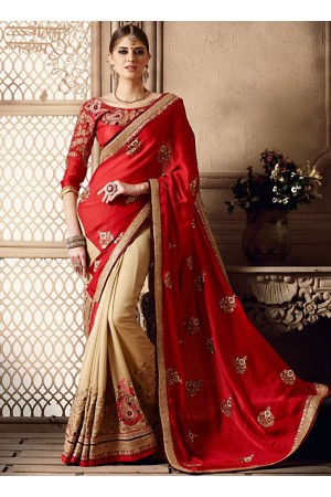Observable Red Moss Crepe Georgette Saree