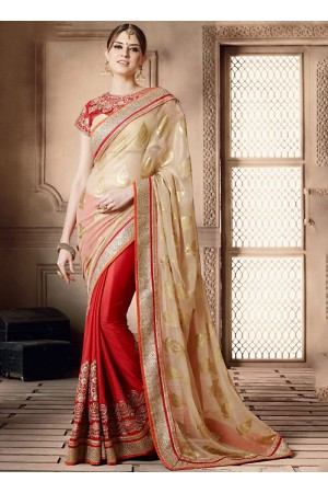 Astounding Peach Brasso On Chiffon Saree
