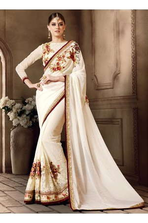 Delectable Off White Georgettes Saree