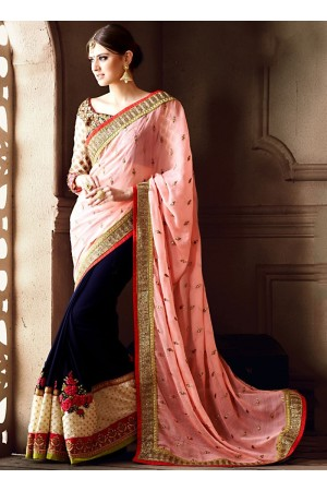 Sterling Baby Pink Georgette On Marble Chiffon Saree