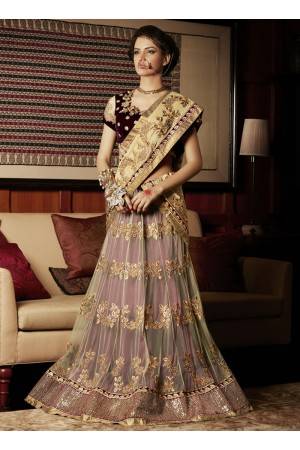 Fascinating Cream and Maroon Patch Border Work Georgette Lehenga Saree