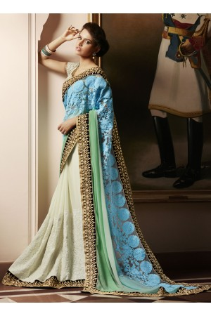 Imperial Embroidered Work Cream Designer Saree