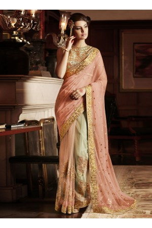 Fantastic Embroidered Work Net Designer Saree